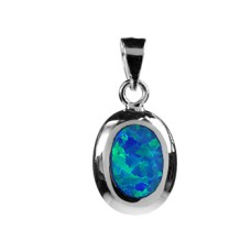 Silver & Created Blue Opal China-Set Oval Pendant Necklace