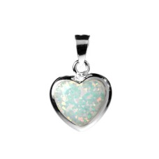 Silver & Created BLUE Opal Heart Pendant Necklace