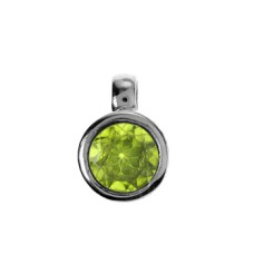 Silver Round Faceted Peridot Pendant Necklace