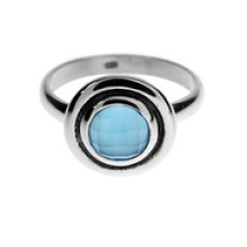 Round Stone Double Bezel Band Ring