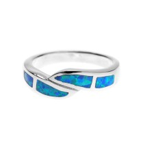 Silver & Created Opal Crossover Ring