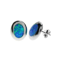 Silver & Created Opal China-Set Oval Studs