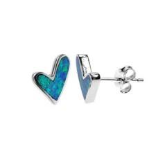 Silver & Created Opal Asymmetrical Heart Studs