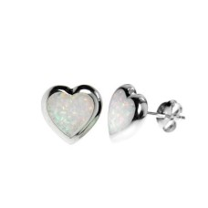 Silver & Created BLUE Opal Small Heart Studs