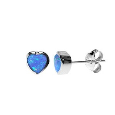 Silver & Created Opal 6mm Heart Studs