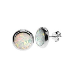 Silver & Created Opal Round Studs