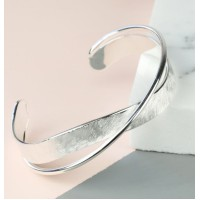 Lisa Angel Brushed and Shiny Crossover Silver Bangle