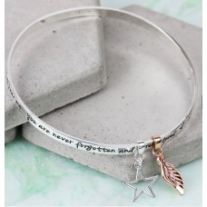 Lisa Angel Silver Charm Bangle - 'Never Forgotten...' Meaningful Words
