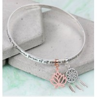 Lisa Angel Silver Charm Bangle -  'My Favourite Person... ' Meaningful Words