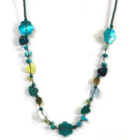 One Button Mabelle Teal Necklace