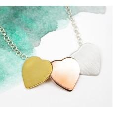 3 Colour Silver Hearts Necklace