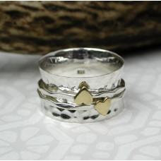 Sterling Silver Double Heart Spinning Ring