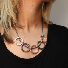 Dark Grey Leather Necklace with Mixed Finish Rings