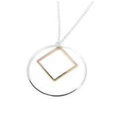 Silver-Plated Circle and Rose Gold Style Square Necklace