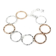 Contemporary Silver And Rose Gold-Plated Beaten Circles Bracelet