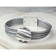 Grey Leather Single Silver Circle Bracelet