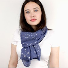 Mid Blue Scarf With Little Silver Stars