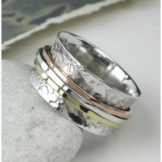 Silver Floral Spinning Ring with 3 Bands