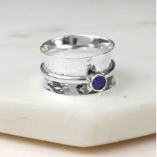 Silver September Birthstone Spinning Ring - Sapphire