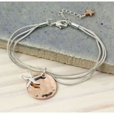 Rose Gold Disc Silver Starfish Chain Bracelet