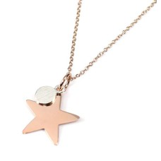 Rose Gold Star Sterling Silver Disc Necklace