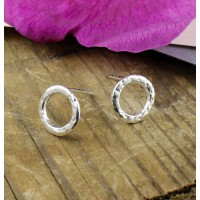 Small Silver Dot Textured Circle Stud Earrings