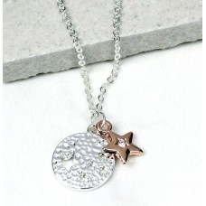 Silver-Plated Star Disc Rose Gold Crystal Star Necklace