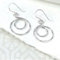Small Sterling Silver Spiral Hoop Drop Earrings