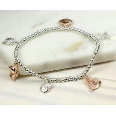 Silver & Rose Gold Beach Inspired Charm Bracelet