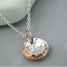 Silver & Rose Gold Discs Necklace