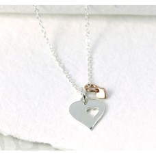 Silver & Rose Gold Double Heart Necklace