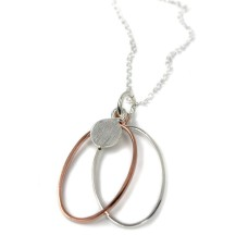 Silver Rose Gold Oval Hoops Necklace
