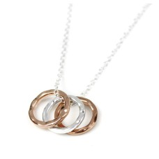 Small Silver Rose Gold Textured Circles Necklace