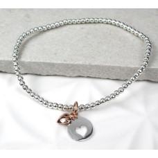 Sterling Silver Bead Rose Gold Heart Bracelet