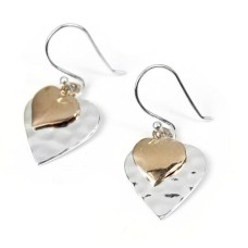 Sterling Silver Rose Gold Double Hearts Earrings