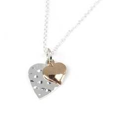 Sterling Silver Rose Gold Double Hearts Necklace