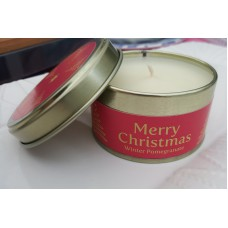 Winter Pomegranate Merry Christmas Candle Tin