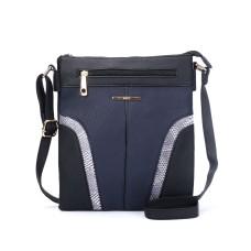 Snakeskin Pattern Handbag - Black