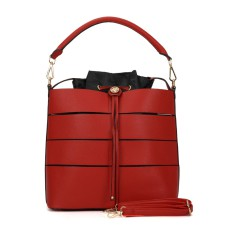 Sally Young Drawstring Bucket Handbag Design - Red