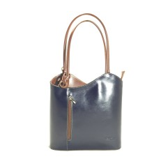 Danielle - Navy & Brown Italian Handbag